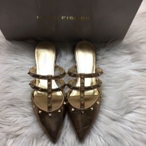 Marc Fisher Gold Studded Mules 5M
